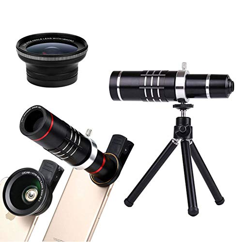 MUYU Phone Camera Lens, 18X Zoom Telephoto Lens + Tripod Compatible with iPhone X XS Max XR/8/7/6/6s Samsung Android,Black (Gem Microscope Zoom)