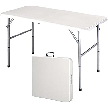Supremus 4 Ft. Folding Table, Portable, High Utility, Perfect For Indoors,  Outdoors, Picnics, Buffet/Party, Dining, Camping, Patio Table, 4 Feet