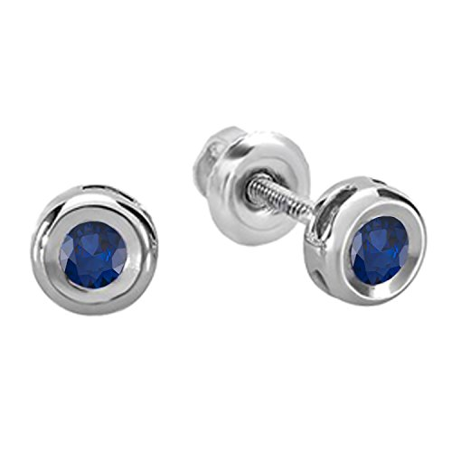 (Dazzlingrock Collection 0.15 Carat (ctw) 14K Round Cut Blue Sapphire Bezel Stud Earrings, White Gold)