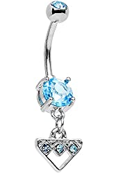 Body Candy Stainless Steel Light Blue Accent Triangular Shield Dangle Belly Ring