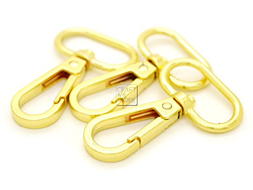 CRAFTMEmore 1 inch Gold Finish Push Gate Lobster Clasps Hooks Swivel Snap Fashion Clips Pack of 10 (Gold, 1 inch)