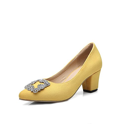 AmoonyFashion Womens Pull-on Kitten-Heels Imitated Suede Pointed Closed Toe Pumps-Shoes Yellow ERs0ARf