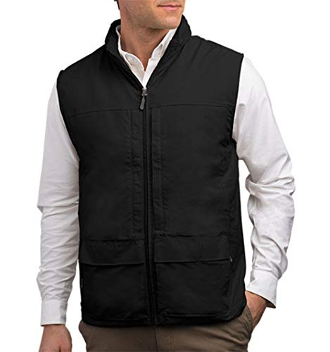 Quest Mens Travel Vest - Work Vest, Photography Vest, Utility Vest 42 Pockets (BLK XL)