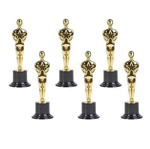 "Gold Award Trophies, 6"" Trophy Statues - Oscar Statues - Oscar Trophy Award for Party Celebrations, Ceremony, Appreciation Gift, Sport Awards, Olympic Academy Awards, Oscar Party Supplies, (Set of 6)"