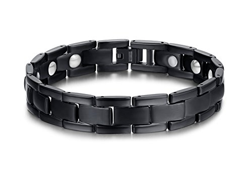 - VNOX Plain Elegant Titanium Magnetic Therapy Adjustable Bracelet for Men Boy,Black