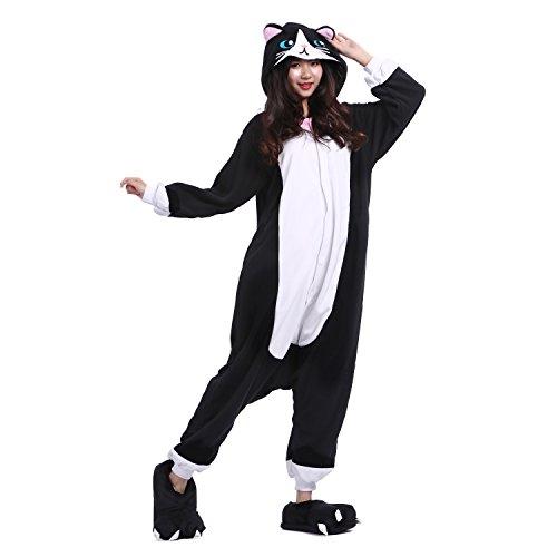 Pigiama PALMFOX Animale Mode 2018 Caldo Onesie Gatto Pigiama Costume Cosplay Unisex Nero Kigurumi Adulto HZBwzHq