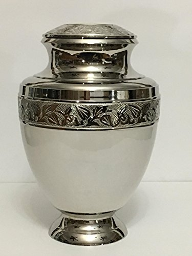 (Urn White Cremation Urn with Silver Cover and Base for Adult Human Ashes, Affordable Urn for Human Ashes - Large Urn Deal)