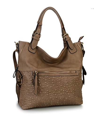 052229d8c3d1 Diophy Bubble Surface Double Side Zippers Hobo Handbag Removable Adjustable  Shoulder Strap LY-1755 (Taupe) - Buy Online in KSA. fralesss collection  products ...