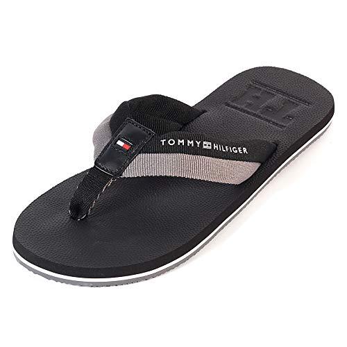 Tommy Hilfiger Men's Embossed Slip On TH Beach Sandal Black Size 9