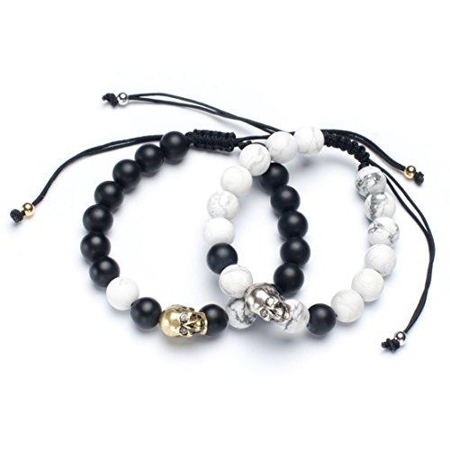 (Karseer Lifelike Skull Friendship Relations Bracelets Black Onyx and White Howlite 8mm Beads Distance Bracelet Set Macrame)
