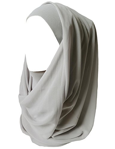 Lina & Lily Solid Color Thick Chiffon Muslim Hijab Long Scarf (Silver)
