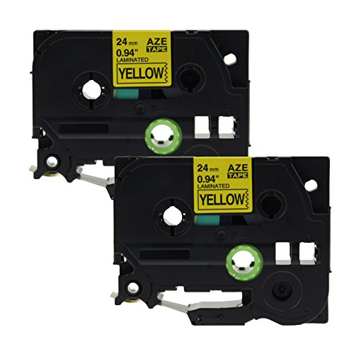 coLorty 2 Pack TZe-651 Black on Yellow Laminated Label Tape Replacement for Brother TZe Tape TZe651 TZ-651 TZ651 for P-touch Labeler, 24mm x 8m