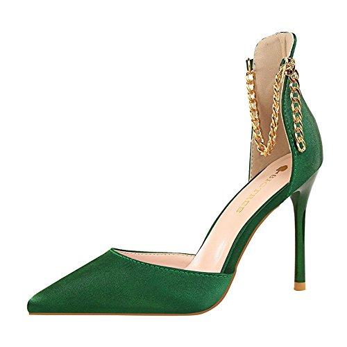 z&dw Sexy show fino tacón fino tacones altos tacones de Satén boca hueca cadena metálica con sandalias Verde