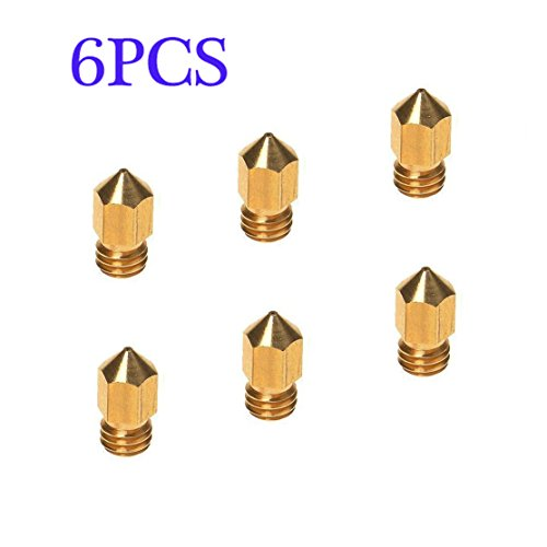 3D Printer Head(6PCS),6PCS 3D Printer 0.4mm Extruder Brass Nozzle Print Head for MK8 1.75mm ABS PLA Printer(0.4mm)