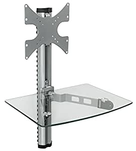 Mount-It! MI-814C Floating Wall Mounted Shelf and TV Wall Mount Bracket Stand for AV Receiver, Component, Cable Box, Playstation4, Xbox1, VCR Player, Blue Ray DVD Player, VESA 100 and 200 Compatible, Load Capacity 88 lbs, Single Shelf (Silver)