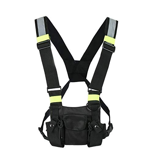 Yaegoo Radio Chest Harness Chest Front Pack Pouch Holster Vest Rig for Two Way Radio Walkie Talkie(Rescue Essentials) (Fluorescent Green)