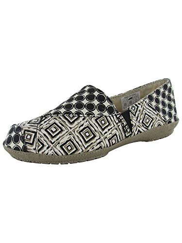 - Crocs Womens Angeline Graphic Loafer Slip On Shoes, Black/Khaki, US 7