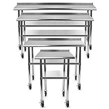 Gridmann NSF Stainless Steel Commercial Kitchen Prep & Work Table w/ Backsplash Plus 4 Casters (Wheels) - 48 in. x 24 in.