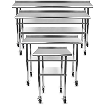 Gridmann NSF Stainless Steel Commercial Kitchen Prep U0026 Work Table W/  Backsplash Plus 4 Casters (Wheels)   30 In. X 24 In.