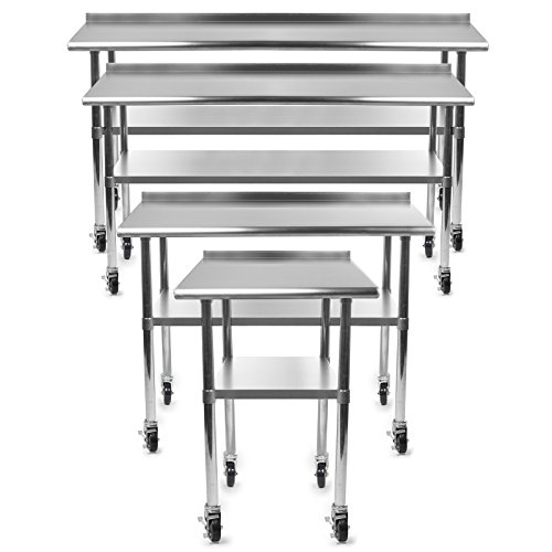 GRIDMANN NSF Stainless Steel Commercial Kitchen Prep & Work Table w/Backsplash Plus 4 Casters (Wheels) - 72 in. x 24 ()