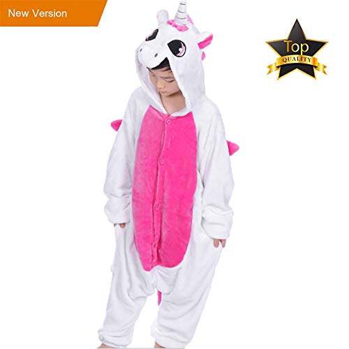 JunYito Pijama Animale Niños Niña Adulto Mujer Invierno Kigurumi Unicornio Disfraz Cosplay Halloween y Navidad(120, Rosa)