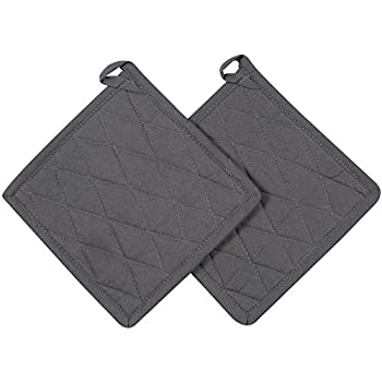 Cote De Amor Set of 2 Pot Holders Bulk Heat Resistant and Machine Washable, 100% Cotton Kitchen Hot Pads Pot Holders Grey