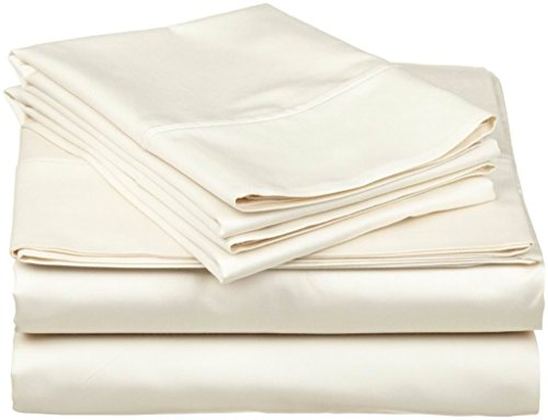 Crafts Linen 4 Piece Sheet Set- 100% Natural Cotton 400 TC Fit Mattress up to 12-inch-Deep Pocket, Feel Ultra-Soft, Comfortable and Eco-Friendly Sheets (Cal-King, Ivory Solid)