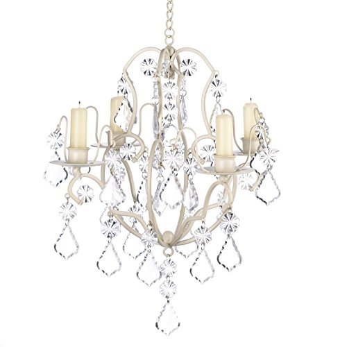 Ivory Rustic Chandelier (Chandelier Candle Holders, Ivory White Hanging Candle Chandelier Holder - Iron)