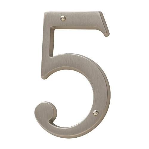 (Baldwin Estate 90675.150.CD Solid Brass Traditional House Number Five in Satin Nickel, 4.75