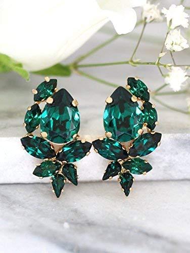 660ad9f72 Amazon.com: Bridal Emerald Green Cluster Stud Earrings, Swarovski Crystal  Bridesmaids Earrings, Handmade Wedding and Christmas Party Jewelry: Handmade