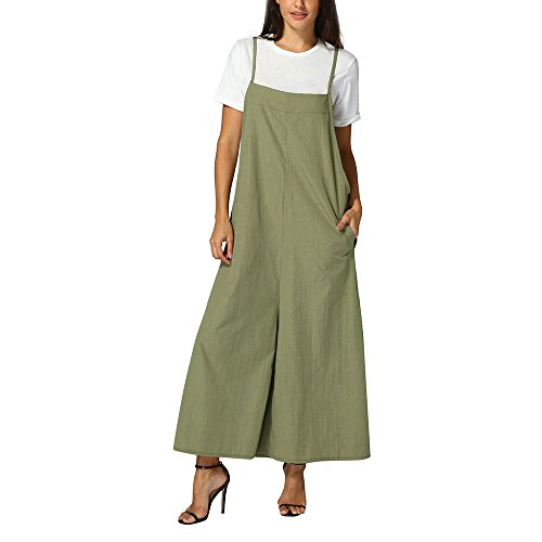Women's Baggy Dungarees,Strap Overall Pockets Bib Baggy Playsuit Loose Pants Sleeveless Jumpsuit Trousers Yamally -