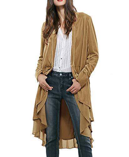 R.Vivimos Womens Ruffled Asymmetric Long Velvet Blazers Coat Casual Jackets (Small, Khaki)
