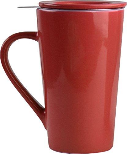 Asobu TEA TIME MUG SET a large 15 ounce loose leaf tea stainless steel infuser and porcelain mug with saucer (Red)