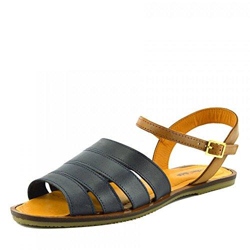 Kick Footwear - Damen Mode Sommer Casual Sandalen Classic Schuhe - UK 5 / EU 38, Navy, Upper Material - Real Leather