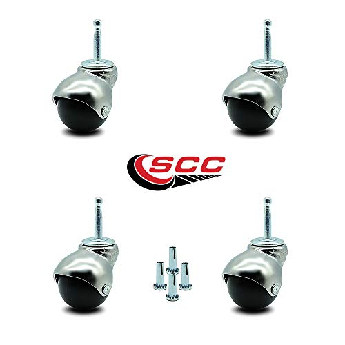 Service Caster Bright Chrome Hooded 2 Inch Swivel Ball Casters with 5/16 Grip Neck Stem -300 lbs. Total Capacity - Sockets Included - Set of 4 ()