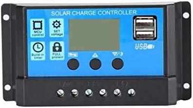 Tivollyff 12V / 24Vソーラーパネル充電器コントローラーバッテリーレギュレーターUSB LCDソーラー充電システムコントローラー、タイマーライトセンサー付き