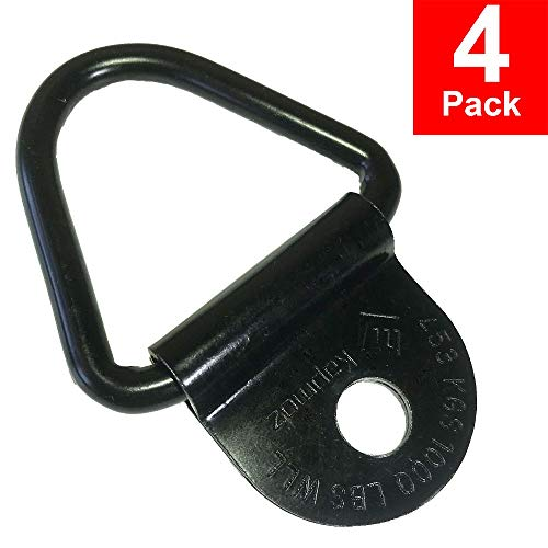 Heavy Duty Truck Bed Tie Down Anchors Rings Trailers Hook Cargo Bolt on V Ring Pickups Rail Accessories (4 Pack 4000 LBS)