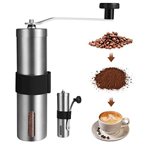 FONNOR Manual Coffee Grinder – Hand Stainless Steel Coffee Mill, Portable Hand Conical Burr Mill with Hand Crank for…