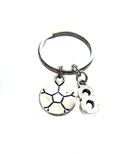 Custom Personalized Soccer Ball, Jersey Number Charm, Keychain, Soccer Mom