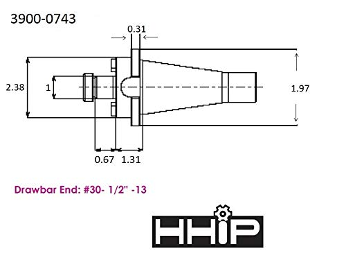 1-1//2 Bore HHIP 3900-1745 NMTB 40 Taper Shell End Mill Holder