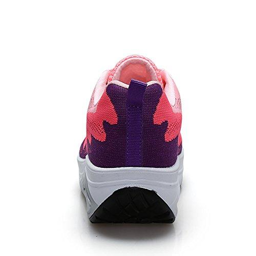 JARLIF Frauen Bequeme Plattform Walking Sneakers Leichte Casual Tennis Air Fitness Schuhe US5.5-10 Rosa