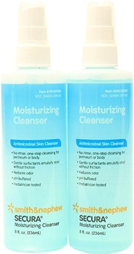 (Smith and Nephew SECURA Moisturizing Antimicrobial Skin Cleanser 8oz Spray Bottle (Pack of 2) by Smith & Nephew)