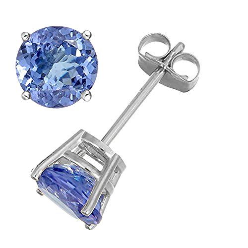 14K White Gold 1.00CTW Genuine Tanzanite 4 Prong Stud Earrings, ()