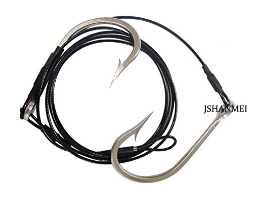 Hat Saltwater Fishing - JSHANMEI Twin Hooks Rig Stainless Steel Jig Hooks Shark Rigs Cable Leader Saltwater Sea Fishing Big Game Tackle (10/0)