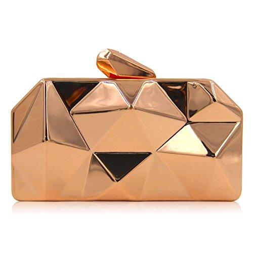 Roses Purse Bag Handbag (Milisente Women Fashion Metal Evening Handbags Geometric Clutches Purses Bag (Rose Gold))
