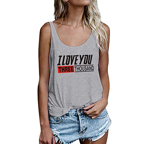 (Tank Tops for Women, I Love You 3000 Printing Vest Sleeveless Loose Crop Tops Tank Blouse Gray)