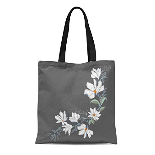 Semtomn Canvas Tote Bag Shoulder Bags Plant Black Floral Magnolia Flower White Necklace Beauty Branch Women's Handle Shoulder Tote Shopper Handbag