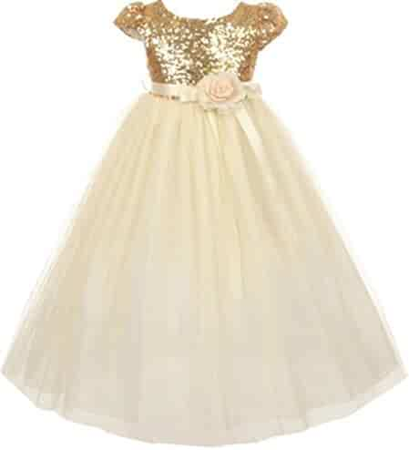 646722fa3 AkiDress Classic Baby Sequins Bodice Shinny Flower Girl Dress for Little  Girl