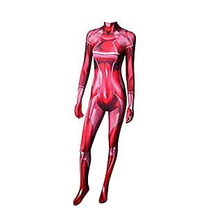Samus Zero Costume 3d Printed Female Halloween Cosplay Zentai Suit Red