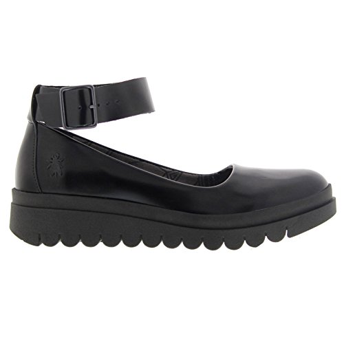 Fly London Womens HAEM774FLY Black Leather Shoes 40 EU